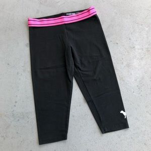PINK VS Yoga Black & Pink Capri Leggings